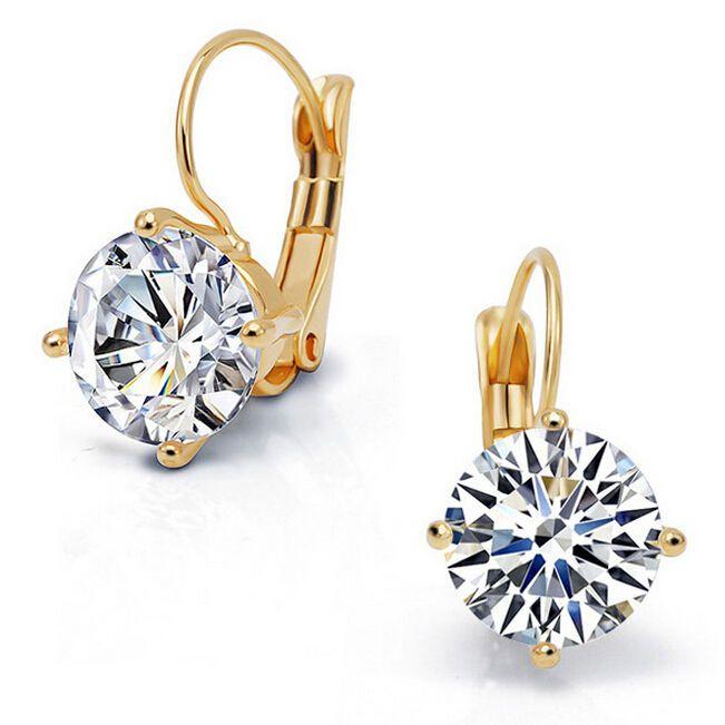 Luxus Ohrringe 18 Karat Rosegold und echtem Zirkonia Stein