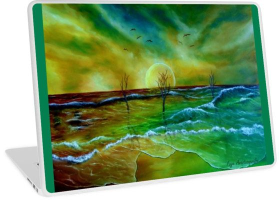 Laptop Skin,  sea,waves,sky,coastal,sunset,nature,impressive,fantasy,colorful,green,golden,blue,unique,cool,beautiful,trendy,artistic,unusual,accessories,design,items,products,for sale,redbubble