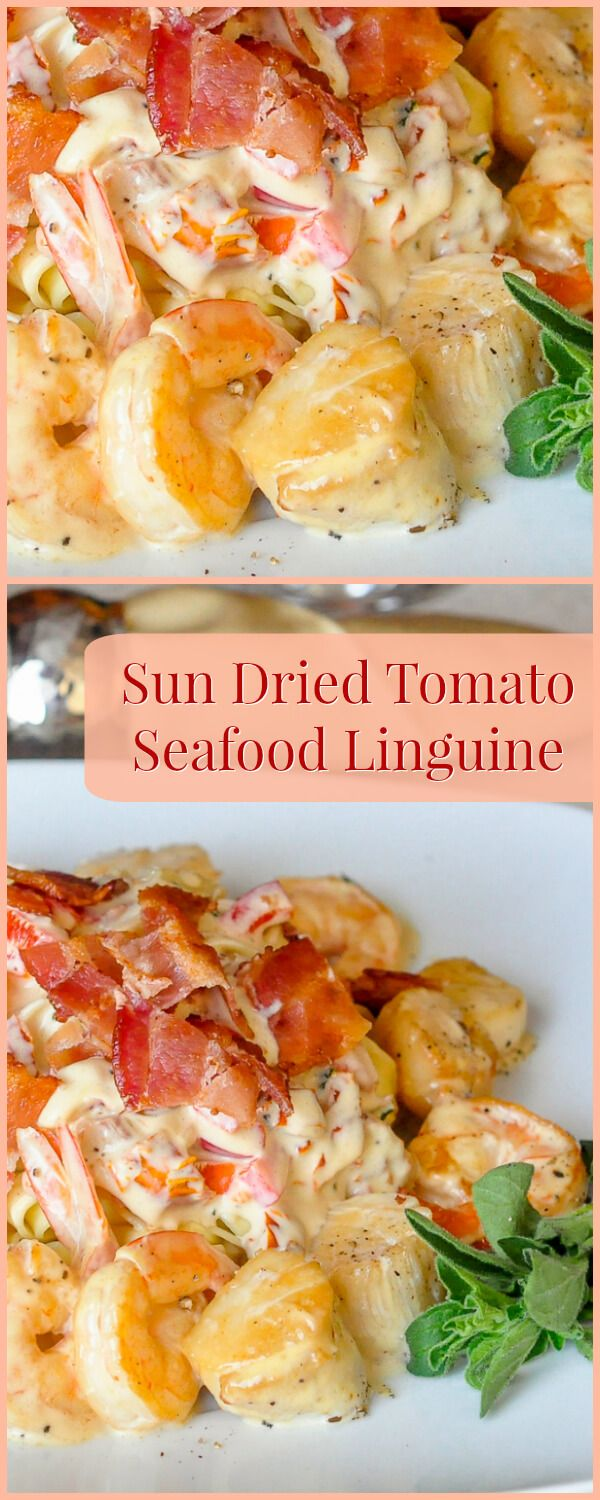 Sundried Tomato Seafood Linguine - This easy to prepare pasta dish is very fast to cook as well and can easily be ready in about 20 minutes. That makes it a great choice for a dinner party or even a romantic dinner for two on Valentine's Day