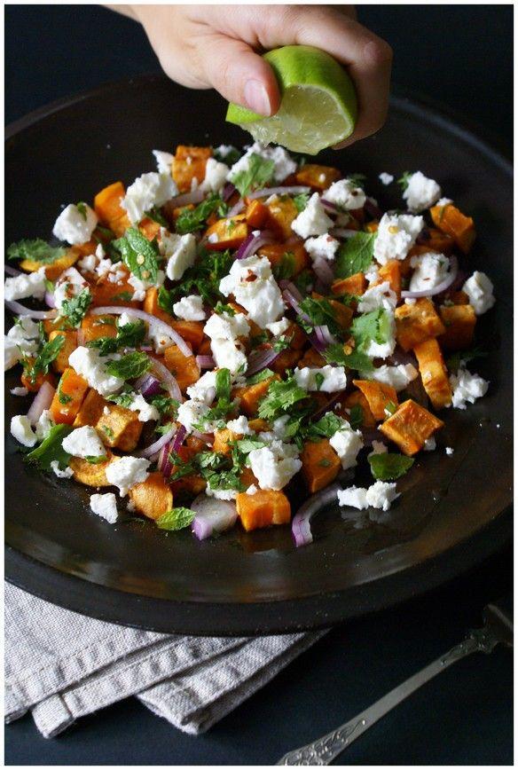 sweet potato salad with feta & coriander | complimenttothechef.com