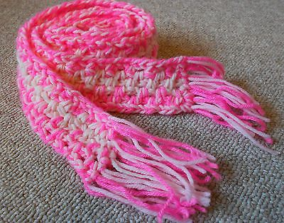 Crocheting With Two Strands Of Yarn : Crochet Scarf Pink 2 by 53 Handmade Double Strands of Yar...