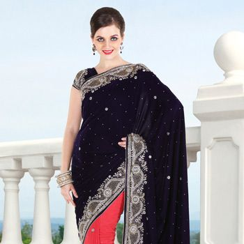 Dark Purple and Old Rose Velvet and Faux Georgette Saree with Blouse