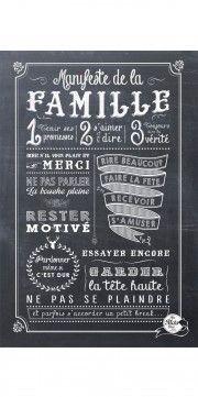 MANIFESTE DE LA FAMILLE - CHALKBOARD