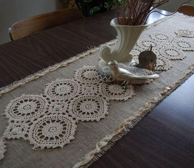 Image detail for -lace and burlap table runner / crochet ideas and tips - Juxtapost