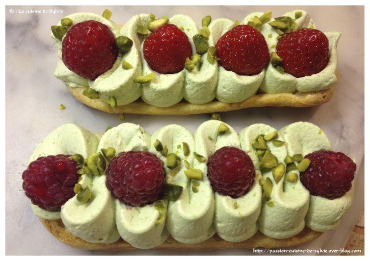 Eclair revisité à la crème chantilly mascarpone pistache / framboises ou fraises