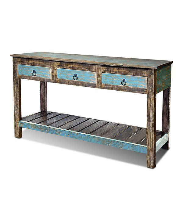 Teal Sofa Table: Distressed Teal Stanley Sofa Table
