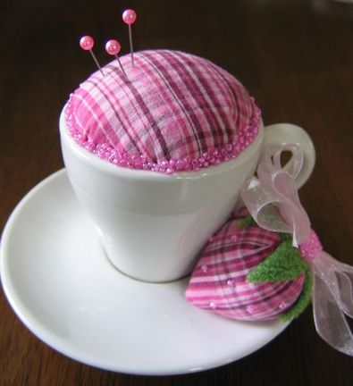 Pretty Plaid Teacup Pincushion ~ a perfect way to use up your scraps!