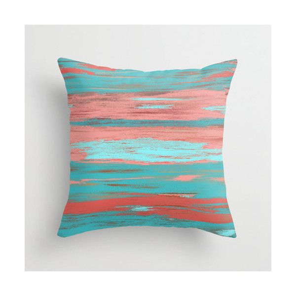 coral teal throw pillow cover aqua light coral abstract ombre modern 25
