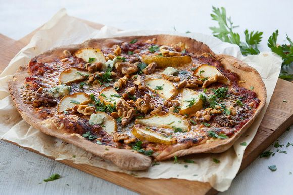 Spelt Pizza with Gorgonzola, Walnut and Pears - Maggie Beer