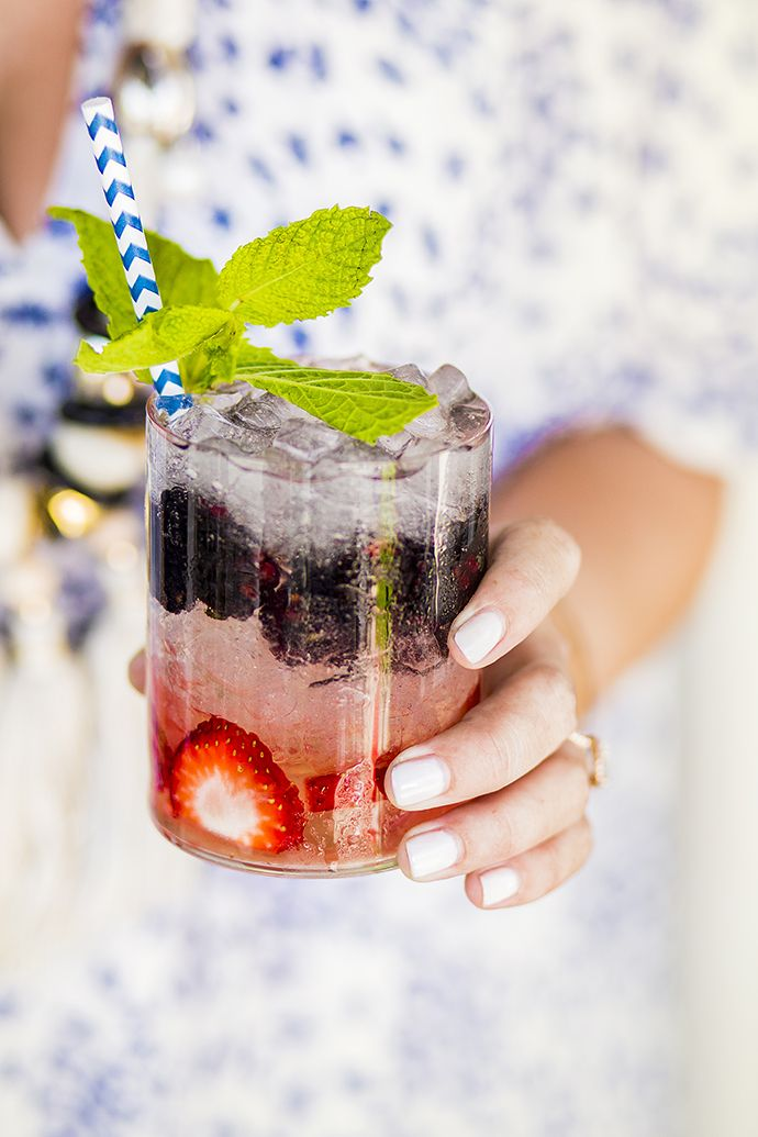 Tequila Cobbler:  2 oz Ocho Plata Tequila .75 oz Agave Syrup 1 strawberry sliced 6-8 blueberries or blackberries Topo Chico Sprig of Mint for garnish