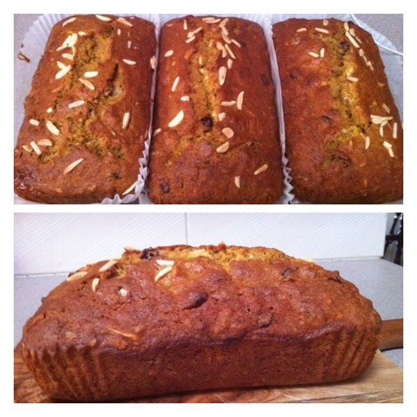 Pumpkin bread is easy to make and even easier to like. It's soft, moist and golden. It's full of sweet pumpkin flavour enhanced by spicesa and craisins topped with slivered almonds.