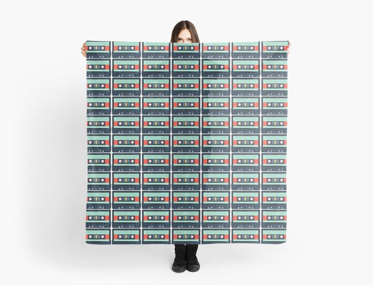 Aqua coloured Cassette Tape Scarf by AnMGoug on Redbubble. #cassette #cassettetape #pattern #scarf