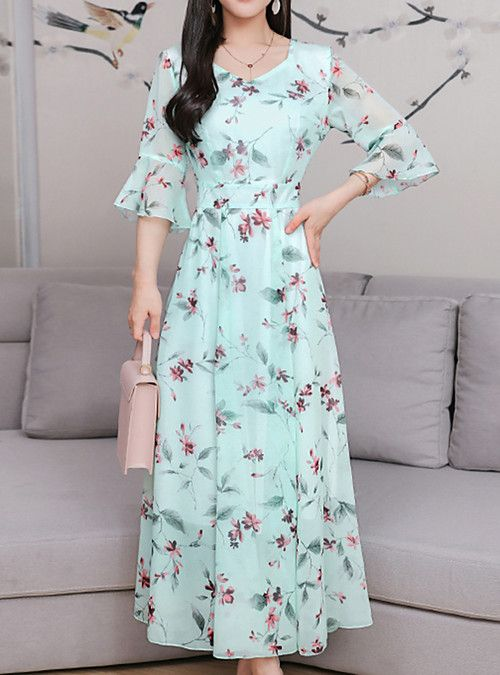 9b29272356dc Women's Going out Boho Sophisticated Flare Sleeve Maxi Sheath Chiffon Swing  Dress - Floral Bow Patchwork