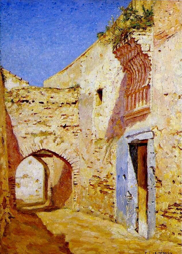 Algérie - Peintre Français  DENEUX Gabriel-Charles, (1856-1926 ), Huile sur toile, Titre: L'heure de la sieste à Tlemcen