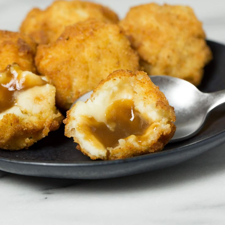 Fried Mashed Potato Gravy Bombs - OMG I NEED TO MAKE THESE. So easily veganizable and we have a deep fryer... dun dundun ...