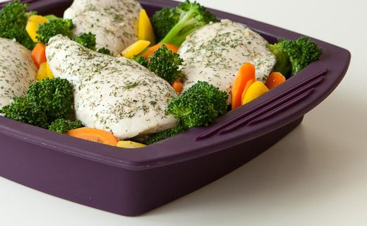 Epicure's Silicone Steamer 8 Minute Lemon Dilly Chicken and Broccoli