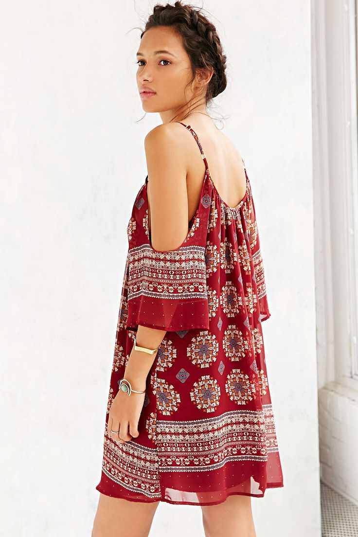 Ecote Border Printed Cold Shoulder Dress - Urban Outfitters