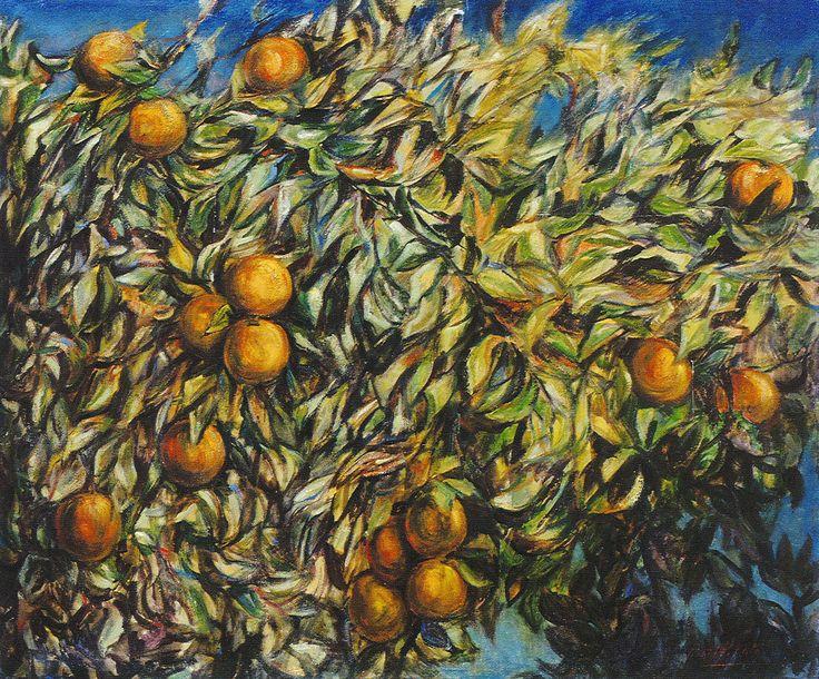 """""""Le arance"""" (1976) , di Domenico Purificato. Olio su tela, cm 100×120 cm.  """"Oranges"""" (1976), by Domenico Purificato. Oil on canvas."""