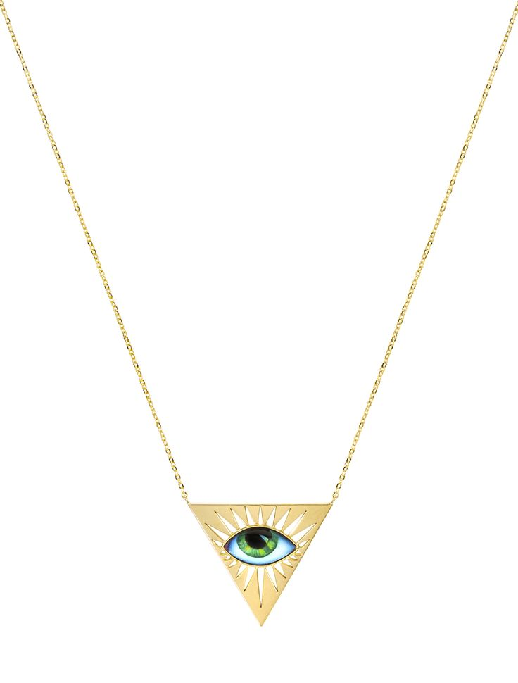 """Lito for Zeus + Dione"" gold necklace with green enamelled eye. www.lito-jewelry.com"