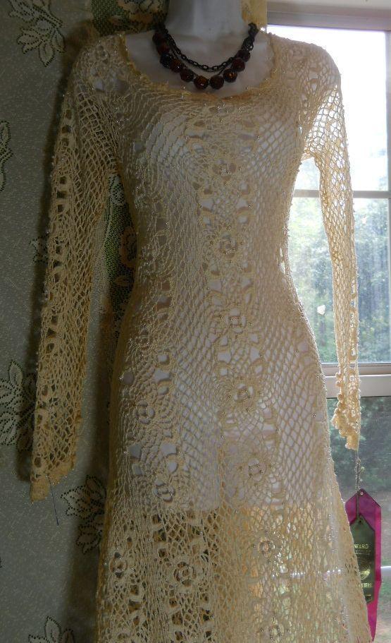 White crochet dress ivory beaded lace long wedding boho for Wedding dress beading patterns