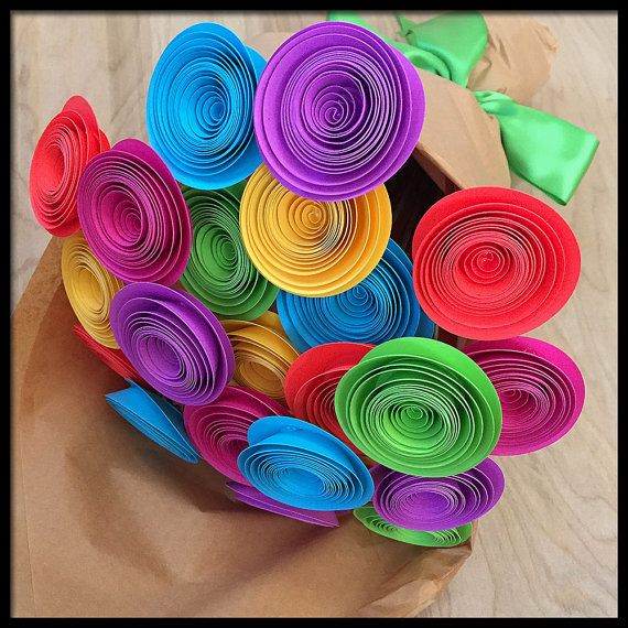 Fiesta Decoration Paper Flowers Colorful Flower Bouquet