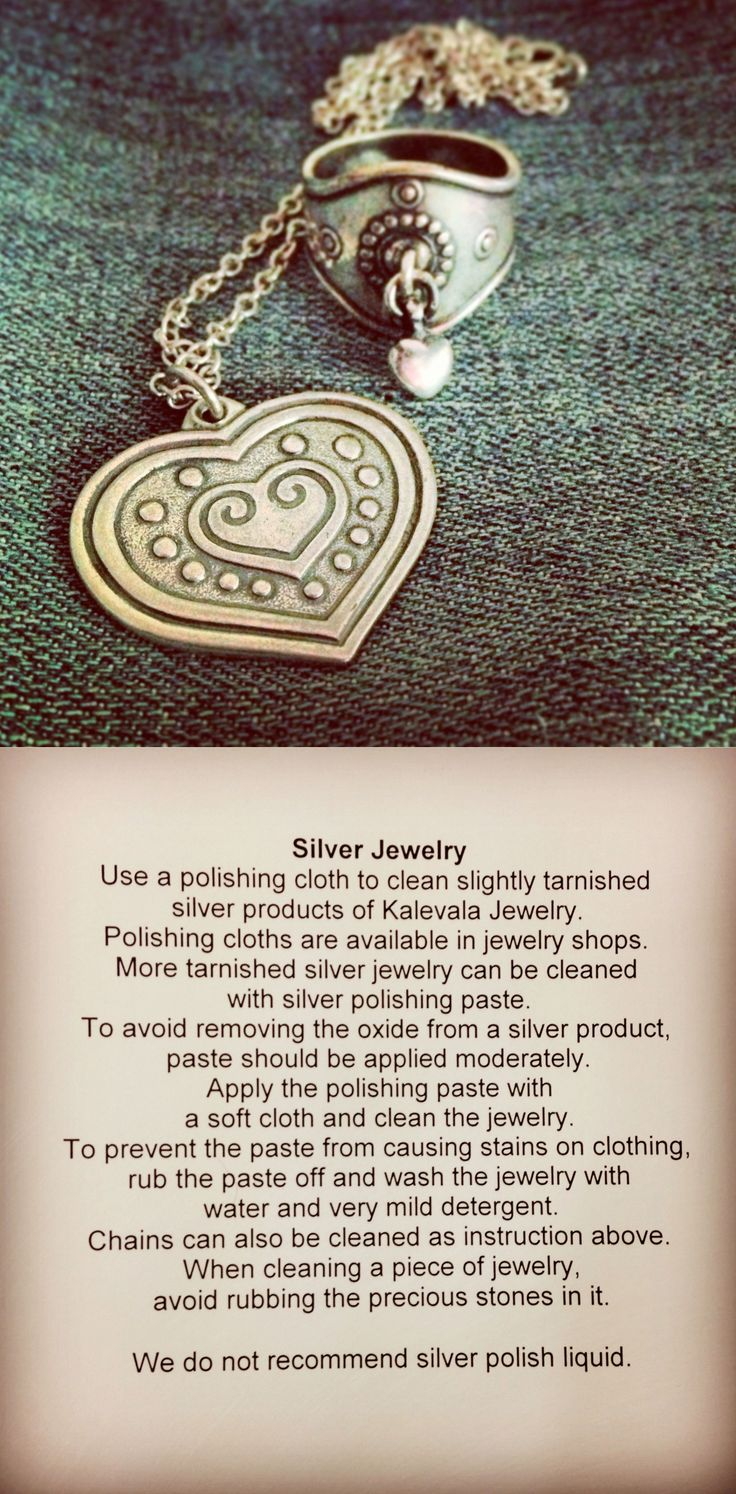 Caring for silver jewelry