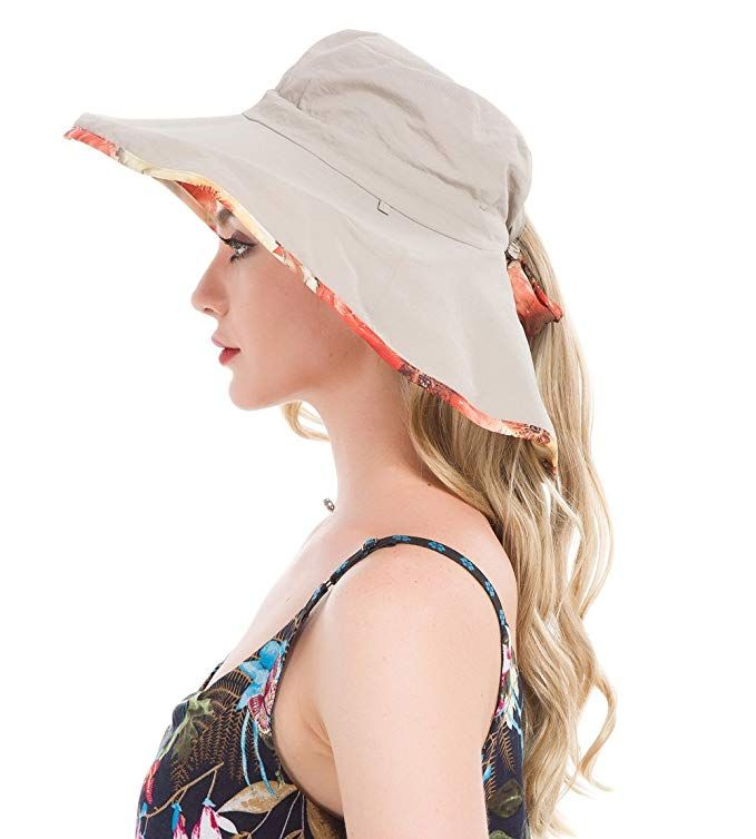Lenikis Women S Upf50 Sun Hat Wide Brimmed Uv Protection Flap Hat With Ponytail Hole Review Flap Hat Sun Hats Wide Brimmed
