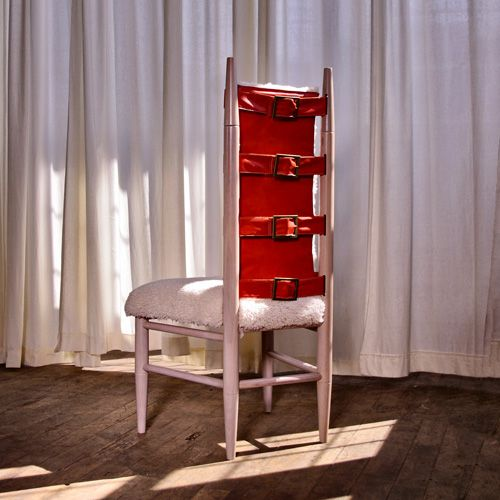 Dining Chair No. Nordic Inspired Dining Chair, Hand Upholstered In  Shearling And Red Leather, With Fashion Inspired Antique Brass Buckles And  Exposed ...