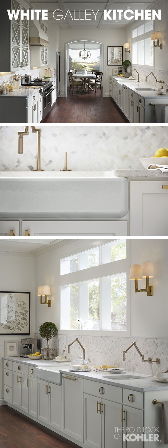 White galley kitchens - Get Inspired By This Warm And Welcoming Garden Galley Kitchen Featuring Juxtaposing Modern Faucets And
