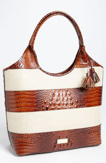 Brahmin 'Vineyard' Leather & Raffia Shopper | Nordstrom