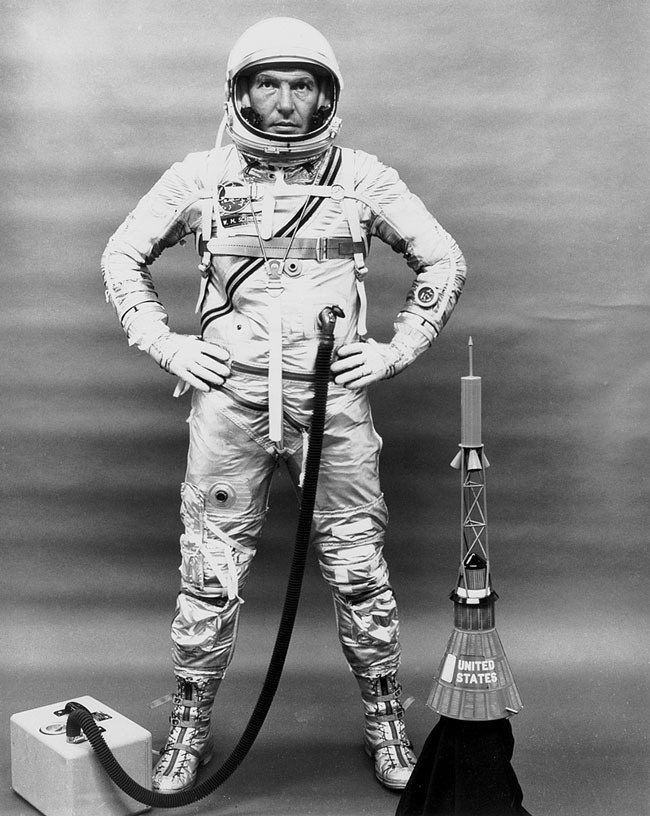 "Astronaut Walter M. ""Wally"" Schirra, one of the original seven astronauts for Mercury Project selected by NASA on April 27, 1959. The MA-8 (Mercury-Atlas) mission with Sigma 7 spacecraft was the third marned orbital flight by the United States, and made the six orbits in 9-1/4 hours."