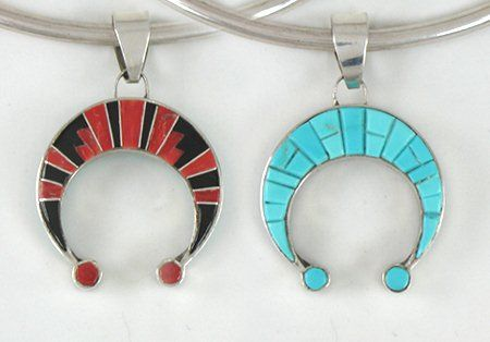 Authentic Native American Navajo Stone Inlay and Sterling Silver Reversible Naja Pendant by Merle House