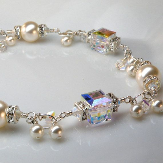 Pearl and Crystal Bracelet Sterling Silver Wedding by fineheart, $130.00