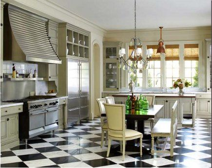 Checkered Floor With Sage Green Cabinetry   Thompson Custom Homes