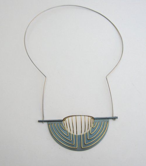 Necklace (1994)  Sample made for a series of designs within the context of the final project in college. Inspired by ancient neon-geometrical motives.  Titanium, Sterling silver, 18karat gold, steel. 150mm. (Certificate of Merit from The Worshipful company of Goldsmiths, 1994, S.J.A.C. Awards/Exhibition, London).