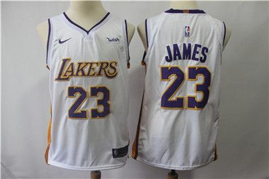 02873348afa 2018 New Los Angeles Jersey Laker 23 LeBron James Lakers White Basketball  Jerseys The City Whish Embroidery Logos 100% Stitched