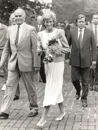 September 13, 1989:  Princess Diana arrives at the Lawn Tennis Association's National Training Centre in Bisham Abbey, Buckinghamshire.
