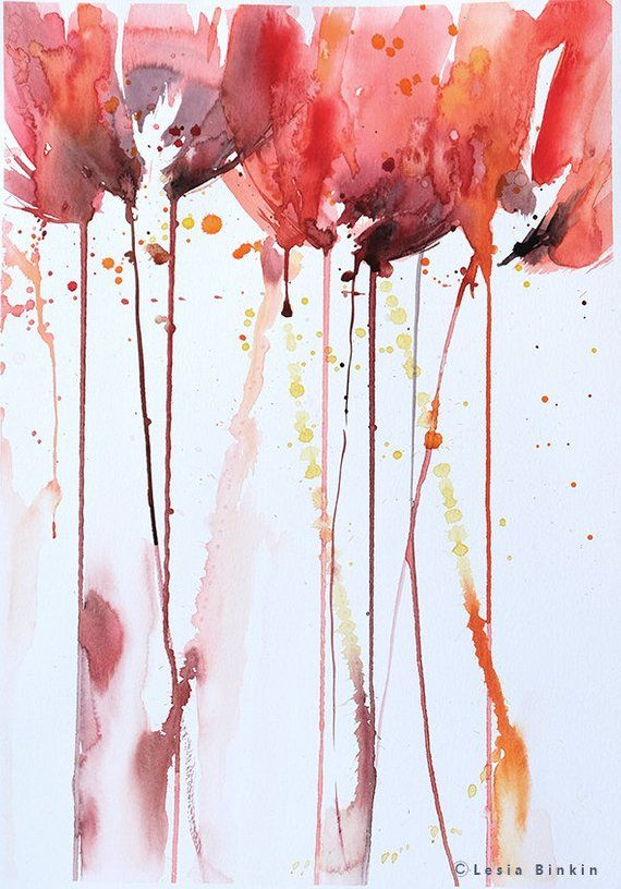 Red Abstract Art Original Watercolor Painting Loose Style