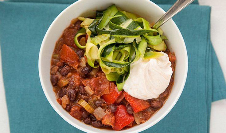 Black Bean Chili With Paprika Yogurt And Zucchini Ribbon