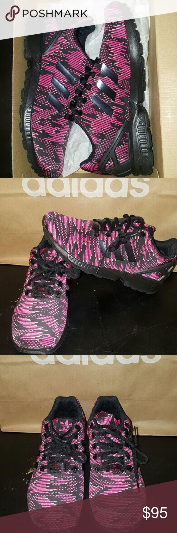 NIB Adidas ZX Flux K size 7 y/8.5 w New never worn Adidas ZX Flux K in hot pink/black with a digitized camouflage look.  Very cute and comfy in Ortholites.   Size 7 youth or 8.5 or 9 wome. Please no low balling.  Please use the offer button instead of comments for your offers.  Thank you Adidas  Shoes Athletic Shoes