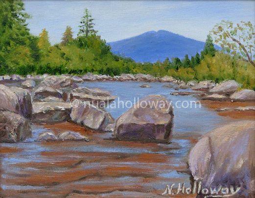 """""""Rock Pool"""" by Nuala Holloway - Oil on Board www.nualaholloway.com #Trees #Mountain #Rocks #Landscape"""