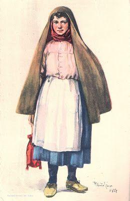 """SERRA DO CAMULO - MULHER COM CAPUCHA (1937). Aguarela de Alberto de Souza (1880-1961), reproduzida em bilhete-postal ilustrado nº 17 da """"Série B"""" - Costumes Portugueses, tendo impresso no verso um selo do tipo """"TUDO PELA NAÇÃO"""" de $25 (azul) ou de 1$00 (vermelho) e emitido pelos CTT, em 1941."""