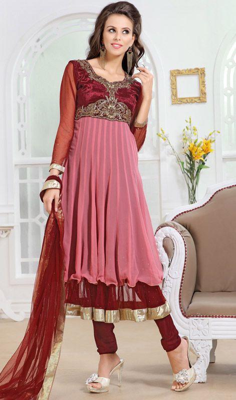 Maroon and Rose Pink Velvet Anarkali Suit Price: Usa Dollar $197, British UK Pound £116, Euro145, Canada CA$211 , Indian Rs10638.