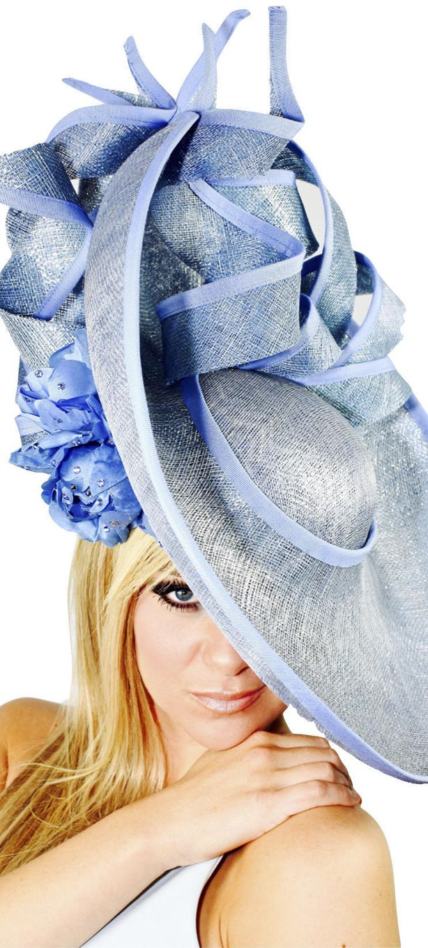 Big Cornflower Blue Upturned Brim hat with Hydranger Flowers and Crystals. Fab hat for the Kentucky Derby, Royal Ascot, Dubai World Cup Fashion Stakes or Fashions on the Field. Perfect colour for Glorious Goodwood ladies day outfits. Handmade on Etsy. #royalascot #kentuckyderby #derbyhats #ascot #ascotraces #racingfashion #fashionsonthefield #passion4hats #affiliatelink #etsyfinds