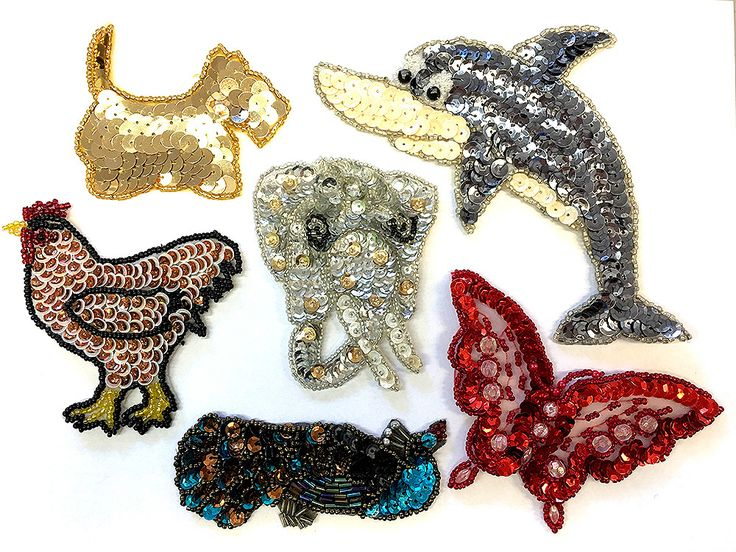 "Animal Assortment, Sequin Beaded, 3"" - 6.5"""