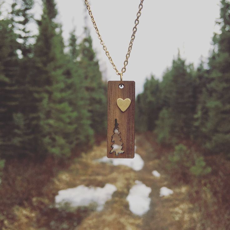 Pine tree Necklace with heart   https://www.etsy.com/ca/shop/TheJewelryRack