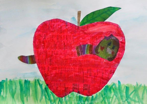 Worm in Apple collage by Anna, age 8.