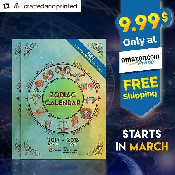Zodiac Calendar Marcha 2017 - April 2018 #zodiac #calendar #astrology #zodiacsign #astro #aries #virgo #libra #aquarius #leo #scoepio #pisces #cancer #taurus #capricorn #sagittarius #gemini Available ay Amazon Prime - 9.99$ - free shipping