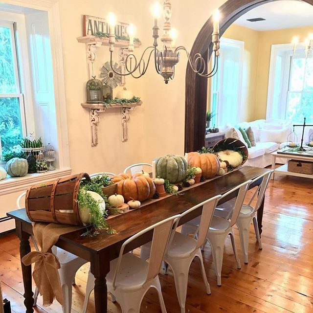# @our1880farmhouse Two days until Thanksgiving! Are you preparing to serve up a yummy Thanksgiving meal in your home? Here's one inspired tablescape to help get you into the spirit of the holiday. Thank you for sharing your inspired pumpkins and bucket centerpiece with us, and for including our Grand Shabby Chic Charlotte Chandelier lighting up your dining room decor.⠀ ⠀ #myafh #antiquefarmhouse #farmhouse #farmhousedecor #farmhousechic #modernfarmhouse #diningroominspo…