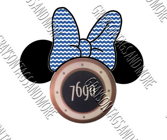 Personalized Inspired Minnie Bow and Ears Magnets for Disney Cruise Door